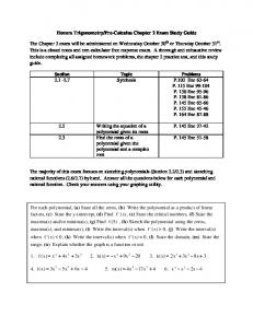 Honors Trigonometry/Pre-Calculus Chapter 2 Exam Study Guide ...