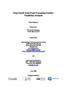 Hope Small-Scale Food Processing Facility ... - Fraser Basin Council