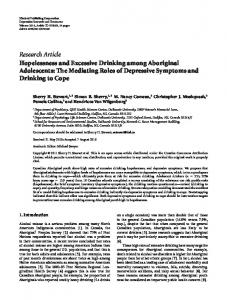 Hopelessness and Excessive Drinking among Aboriginal Adolescents ...