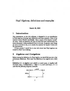 Hopf Algebras, definitions and examples