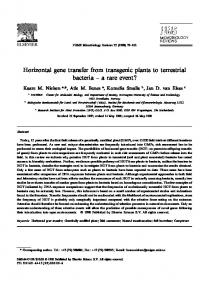 Horizontal gene transfer from transgenic plants to ... - CiteSeerX