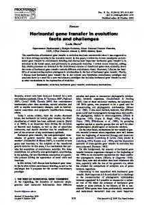 Horizontal gene transfer in evolution: facts and ... - Biological Sciences