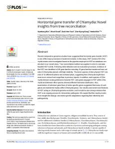 Horizontal gene transfer of Chlamydia: Novel insights from tree ... - PLOS