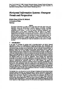 Horizontal Information Systems: Emergent Trends and ... - CiteSeerX