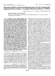 Hormonal and Environmental Responsiveness of a ...