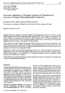 Hormonal Regulation of Glycogen Synthase and Phosphorylase ...