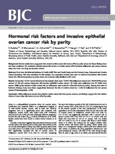 Hormonal risk factors and invasive epithelial ovarian cancer risk by ...
