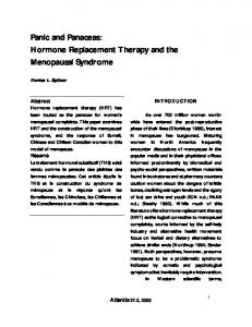 Hormone Replacement Therapy and the Menopausal Syndrome