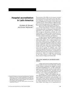 Hospital accreditation in Latin America - Semantic Scholar