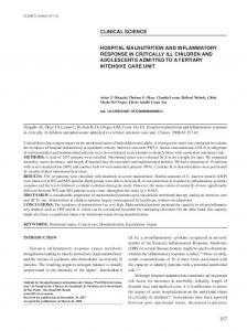 HoSpItAL mALNutrItIoN ANd INfLAmmAtory rESpoNSE IN CrItICALLy ...