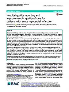 Hospital quality reporting and improvement in quality of care for ...