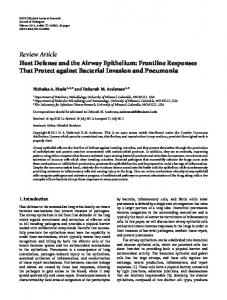 Host Defense and the Airway Epithelium: Frontline Responses That ...