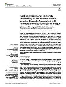 Host Iron Nutritional Immunity Induced by a Live Yersinia pestis ...