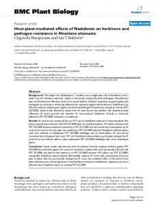Host-plant-mediated effects of Nadefensin on herbivore and pathogen ...