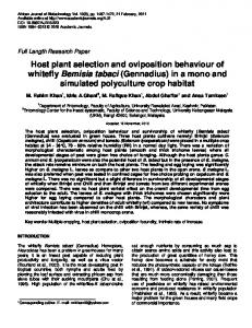 Host plant selection and oviposition behaviour of whitefly ... - CiteSeerX