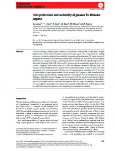Host preference and suitability of grasses for ... - Wiley Online Library