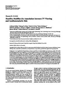 Hostility Modifies the Association between TV Viewing and ...