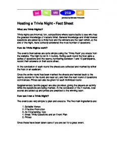 Hosting a Trivia Night - Fact Sheet - 3 Streets Trivia