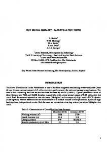 hot metal quality : always a hot topic
