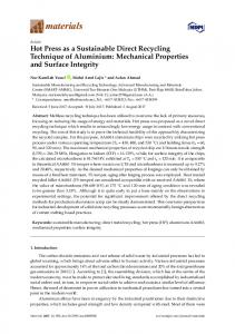Hot Press as a Sustainable Direct Recycling Technique of ... - MDPI