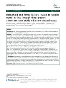 Household and family factors related to weight status ... - BMC Pediatrics