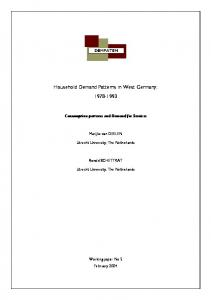 Household Demand Patterns in West Germany: 1978-1993 - AIAS
