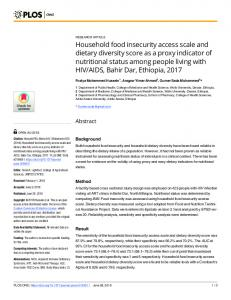 Household food insecurity access scale and dietary diversity ... - PLOS
