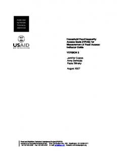 Household Food Insecurity Access Scale (HFIAS) for Measurement of ...
