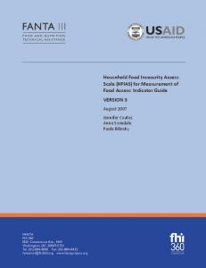 Household Food Insecurity Access Scale (HFIAS) for Measurement of