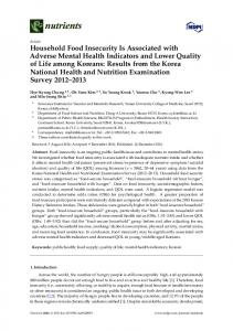 Household Food Insecurity Is Associated with