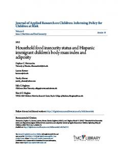 Household food insecurity status and Hispanic immigrant children's ...