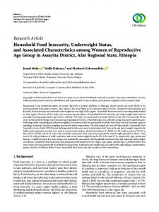 Household Food Insecurity, Underweight Status, and Associated