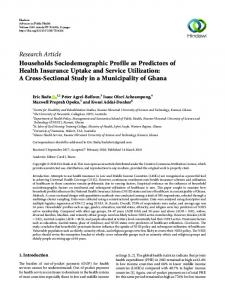 Households Sociodemographic Profile as Predictors of Health ...