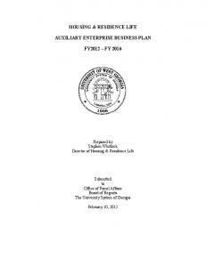 housing & residence life auxiliary enterprise business plan fy2012