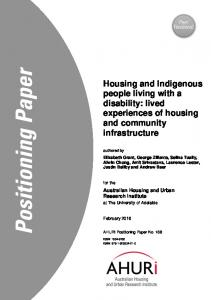 Housing and Indigenous people living with a disability - Australian ...