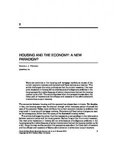 housing and the economy: a new paradigm? - Portland State University