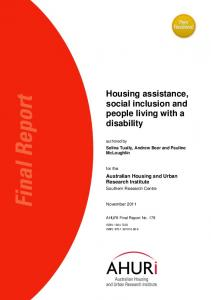 Housing assistance, social inclusion and people living with a disability