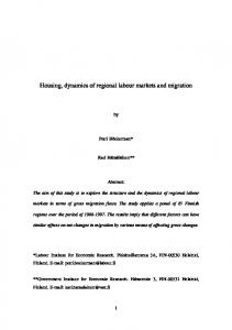 Housing, dynamics of regional labour markets and migration - CiteSeerX