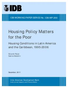 Housing Policy Matters for the Poor - IDB - Publications - Inter ...