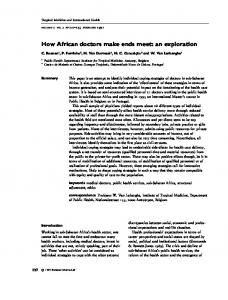 How African doctors make ends meet: an ... - Wiley Online Library