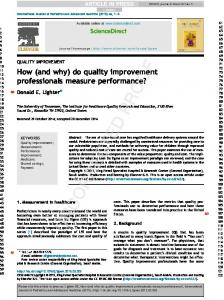 How (and why) do quality improvement professionals ...