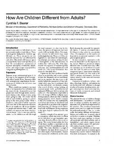 How Are Children Different from Adults? - BioMedSearch