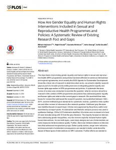 How Are Gender Equality and Human Rights Interventions Included in ...