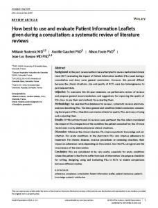How best to use and evaluate Patient ... - Wiley Online Library
