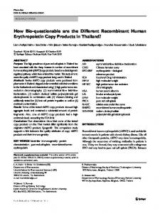 How Bio-questionable are the Different Recombinant ...