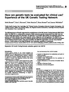 How can genetic tests be evaluated for clinical use ... - Nature