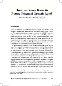 How can Korea Raise its Future Potential Growth Rate? - CiteSeerX