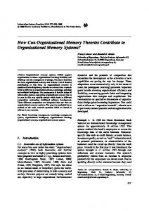 How Can Organizational Memory Theories Contribute ... - Springer Link