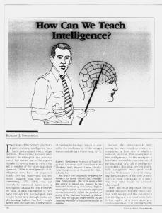 How Can We Teach Intelligence?