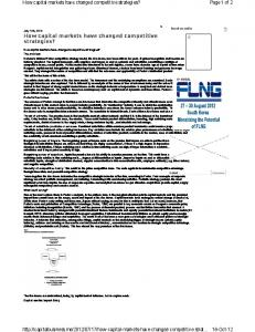 How capital markets have changed competitive strategies? Page1 of 2 ...